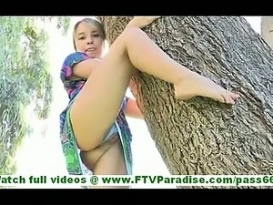 Amie lovely petite blonde with natural tits flashing panties undressing and...