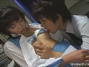 Hot japanese secretary gets her hairy clam banged
