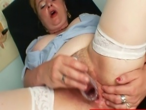 Hot milf unbuttons her nurse uniform to show her natural big boobs afterwards...