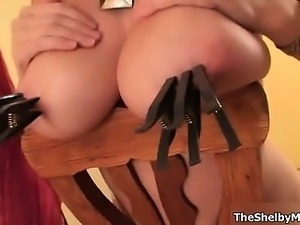 Busty blonde whore gets horny rubbing part3