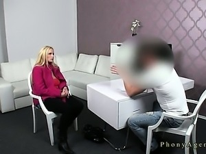 Blonde with massive tits fucked on casting