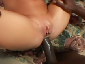 Horny blonde milf gets huge black cock in her ass.