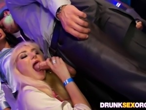 Seductive European ladies get drunk and taste hard dicks at the party