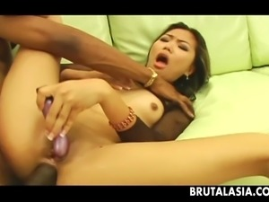asian milf gets a big black cock inside her ass