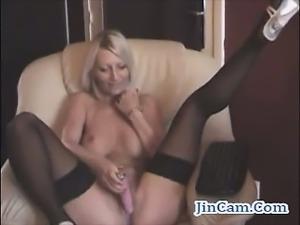 Blonde camgirl masturbates toys live show