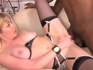 Aroused and hot blonde babe in black lace lingerie Adrianna Nicole and her...