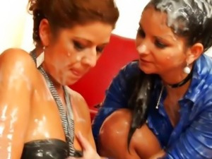 Hottest bukkake lesbians at gloryhole tugging in high def