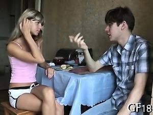 Sweet-looking attractive teen gal takes hard knob
