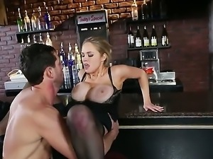 Pretty blonde babe Katie Kox with big juicy knockers and arousing heavy make...