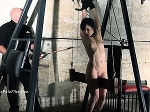 Extreme electro bdsm and wooden device bondage of slave Elise Grave in...