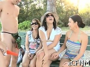 Guy strokes before girls