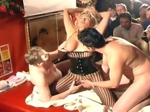 Busty blonde slut adores group sex with a lot of horny dudes