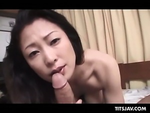 Dirty jap mommy in big tits giving fine blowjob in POV style