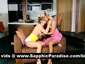 Cute brunette and blonde lesians kissing and fingering pussy and having...