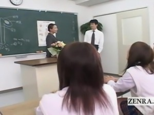 Subtitled CFNM Japan school health class demonstration
