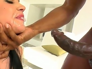 Nasty white whore Andy San Dimas has wild fuck with ebony stud. He drills...