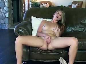 Dreamy long haired babe Shae gets naked and treats her neatly trimmed pussy...