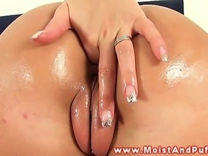 Moist pierced pussy blonde fingers ass