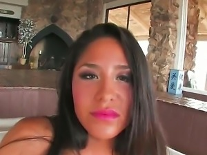Smoking hot tanned black haired bombshell Jenaveve Jolie with arousing heavy...
