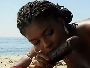 Intense ebony belle gets rammed on the beach