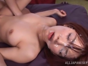 pretty face covered with jizz