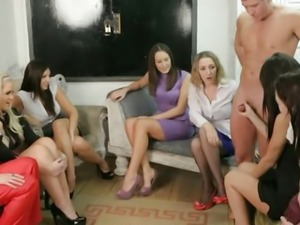 Femdoms in group humiliating their sub in hot high def