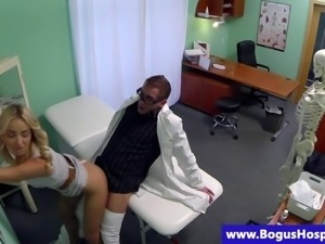 Fake doctor fucking a patients blonde pussy