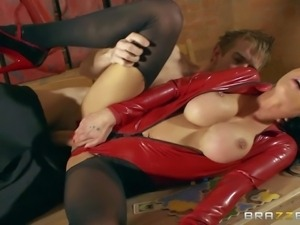 Chantelle Fox is a big boobed beauty goddess in sexy red latex suit. She is...
