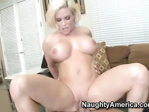 Diamond Foxxx with big knockers and trimmed muff takes Rocco Reeds cock in...