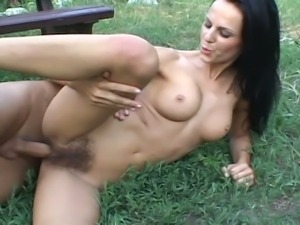 Hairy american babe takes big cock