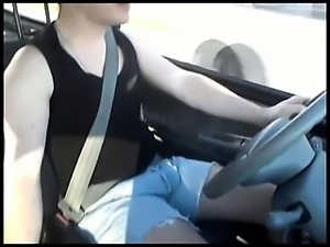 Hung Bulge Jeans In Car
