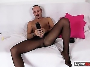Deviated boy loves to show off in his nylon pantyhose