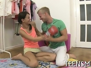 Teen in a hot threesome fun