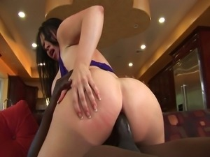 Huge titteed whore's anal interracial