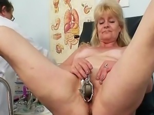 Blond granny visits gyno clinic to have her old pussy checked with speculum....
