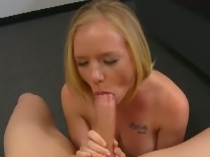 Blonde hottie gives head pov style