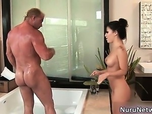 Sexy brunette slut gets aroused for some