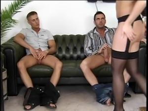 Brunette hottie bangs 2 hard cocks
