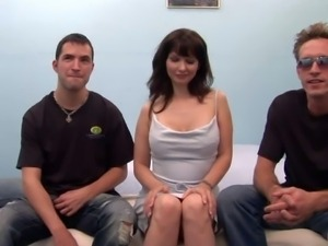 Carrie Ann is a cute dark haired milf. This shy looking woman bares her big...