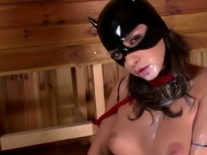 The cat woman squirting milk