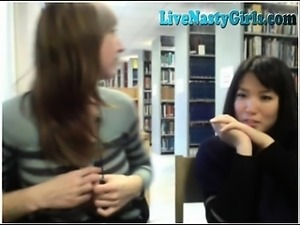 2 Cam Girls Get Naked In Public Library 2
