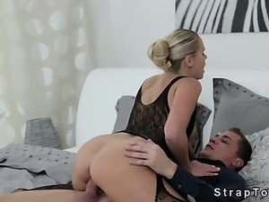 Sexy blonde double penetration fucked with strap on on her man