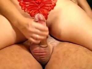 Jenny and joey handjob in my red butterfly panties