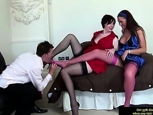 Classy british MILFs getting ready for a threesome fuck