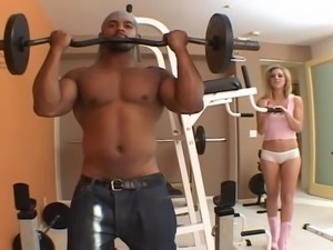 white blonde in gym works out on a bbc @ black assassins