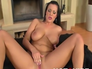 Horny Carmen Croft strips and then stuffs her fingers in her pussy and...