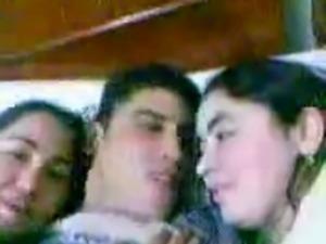 Arab Man kiss Two Arab (Egyptian) Girl in bed