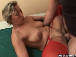Horny mature blonde gets banged by a young dude