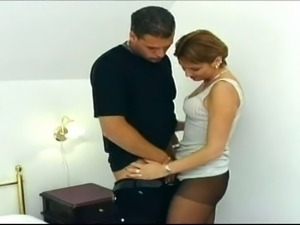 Older redhead slut in pantyhose seduced and fucked much younger stiffed cock boy