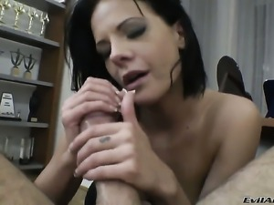 Rocco Siffredi gives hot blooded Alizs mouth a try in oral action after she...